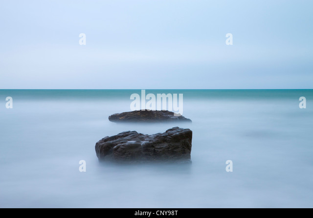 Minimalist seascape at Duckpool in North Cornwall, England. March 2009 - Stock Image