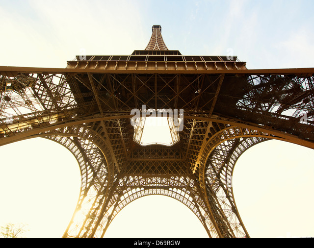 Low angle view of Eiffel Tower, Paris, France - Stock Image