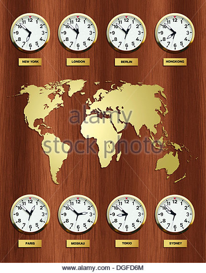 Time zones with a map of the world, Germany - Stock Image