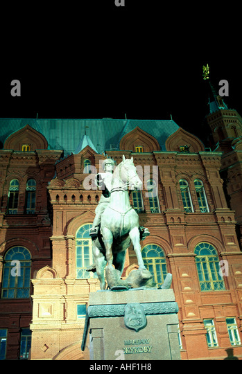 Moscow Russia Red Square Statue monument Marshall Zhukov at night - Stock Image