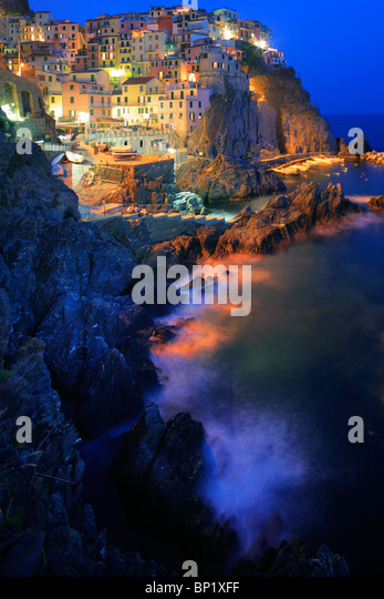Town of Manarola in Italy's Cinque Terre national park - Stock Image