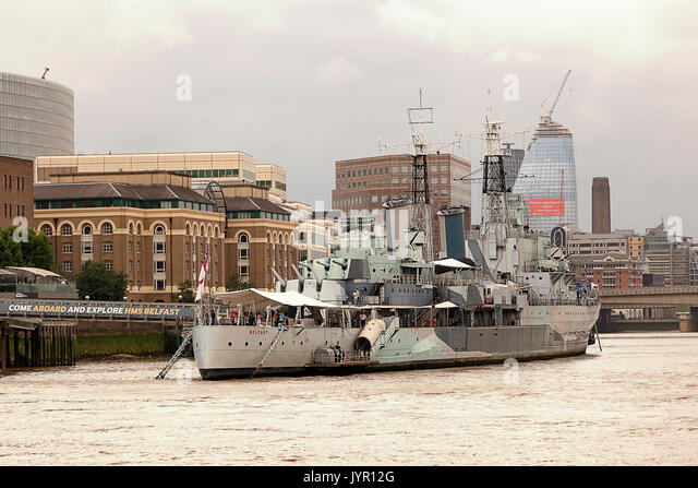 HMS Belfast, London, England - Stock Image