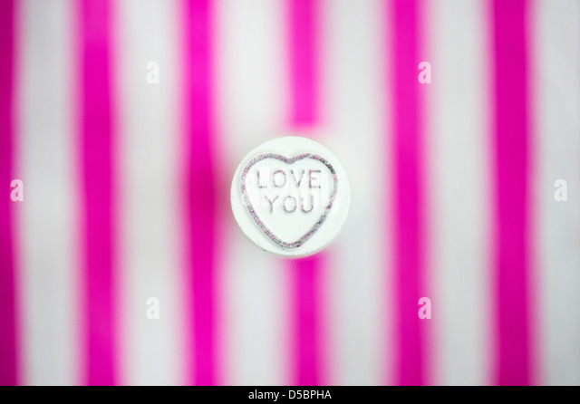 Love you. Love hearts. Retro sweet pattern - Stock Image
