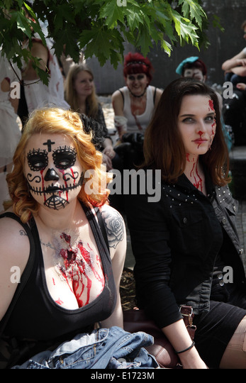 Female participants in the 2014 Prague Zombie event, waiting for the event to start - Stock Image