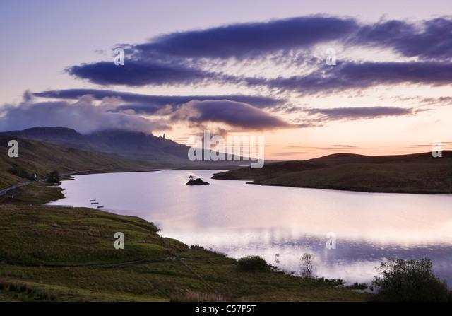 The Old Man of Storr over Loch Fada, Isle of Skye, Scotland, UK. Dawn. - Stock Image