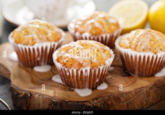 Lemon poppy seed muffins - Stock Image