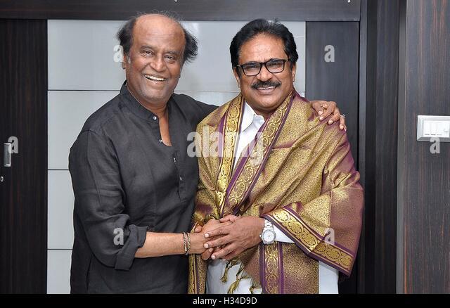 Tamil Nadu Congress Committee president S Thirunavukkarasar meets Rajinikanth Poes Garden residence Chennai - Stock Image