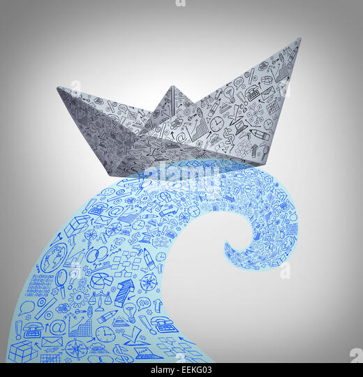 Paper boat business concept on a huge sea wave as a financial management symbol with an origami ship made from an - Stock Image