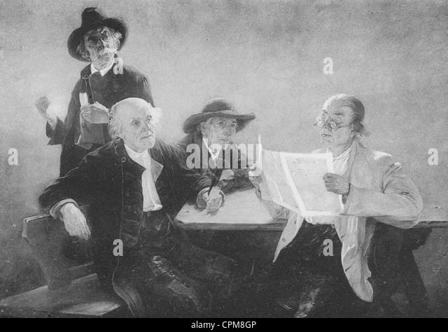 Newspaper readers, around 1850 - Stock-Bilder