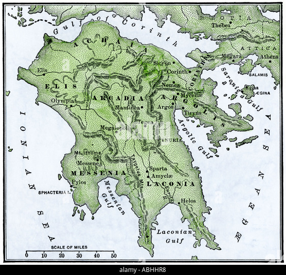 Map of the Peloponnesus ancient Greece - Stock Image