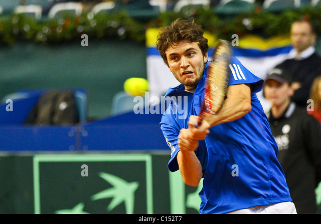 VIENNA, AUSTRIA - MARCH 4: Tennis Davis Cup Austria vs. France is played at Hangar 3, airport Vienna on March 4th, - Stock Image