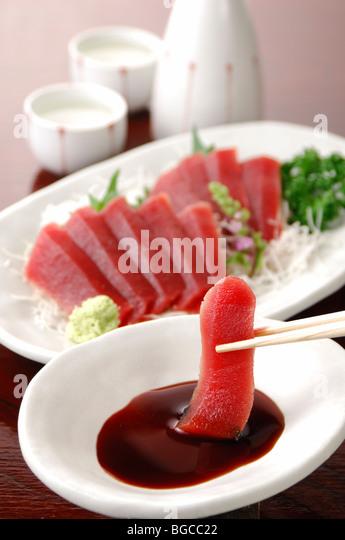 Sashimi of tuna and sake - Stock Image