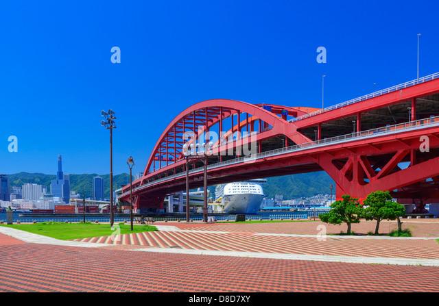 Port of Kobe and  Cruise ships - Stock Image