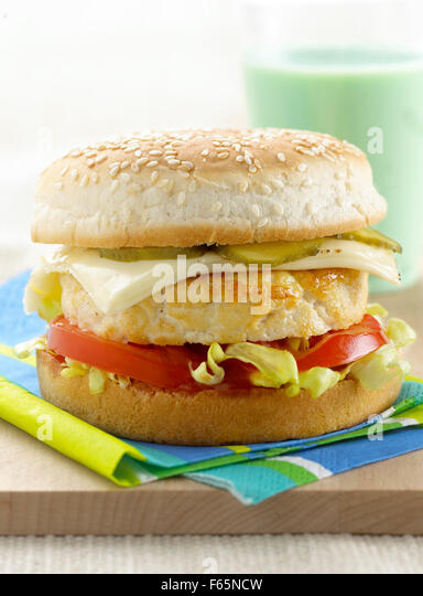 chicken burger - Stock Image