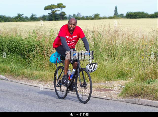 Cyclist participating in the long distance ride the Dunwich Dynamo - Stock Image