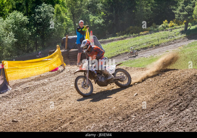 Motocross Kleinhau - 2nd heat Junior DAM Meisterschaft - 27th of May 2017 - Kleinhau, Hürtgen, North Rhine - Stock Image