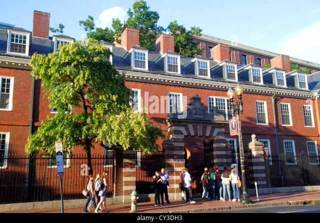 Boston Massachusetts Cambridge Harvard University campus housing Wigglesworth Hall dormitory - Stock Image