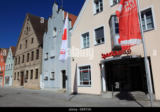 Market square and Sparkasse at Freystadt, Middle Franconia, Franconia, Bavaria, Germany. Photo by Willy Matheisl - Stock Image