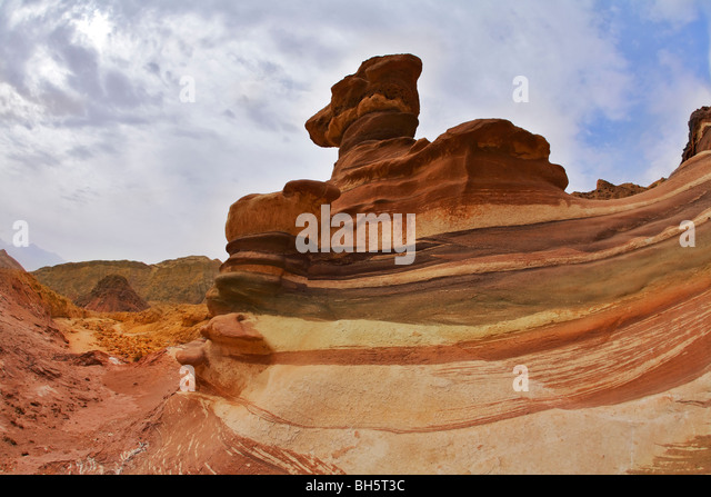 Various and freakish forms of rocks in mountains of Eilat - Stock Image