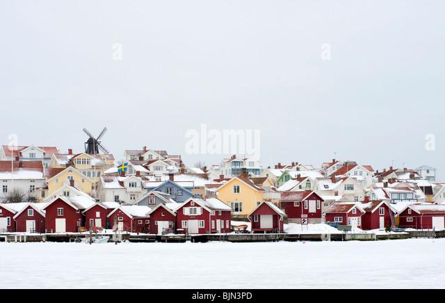Village of Fiskebackskil during cold winter 2010 on Bohuslan coast in Vastra Gotaland Sweden - Stock Image