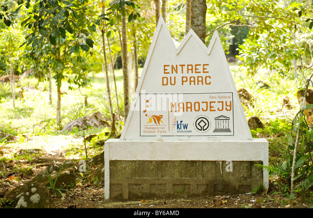 Sign marking the entrance to Marojejy National Park in northeast Madagascar. - Stock Image