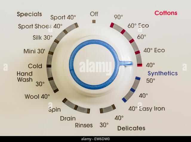 Program choice control dial on a washing machine. - Stock Image