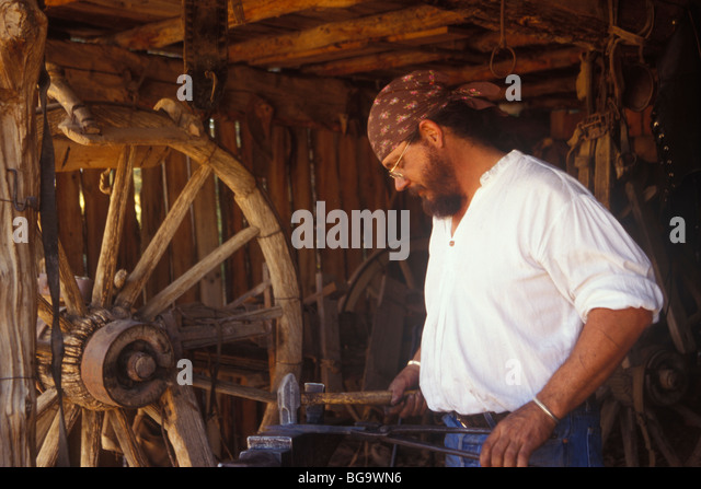wheelwright shop, El Rancho De Las Golondrinas, Santa Fe, New Mexico - Stock Image