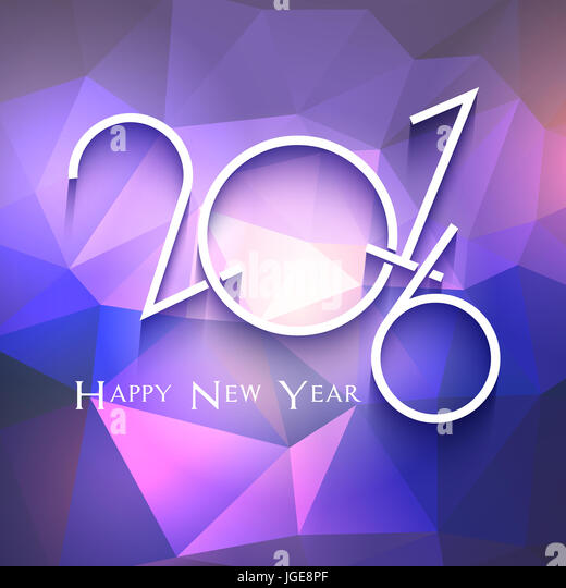 Happy New Year background with geometric design - Stock Image