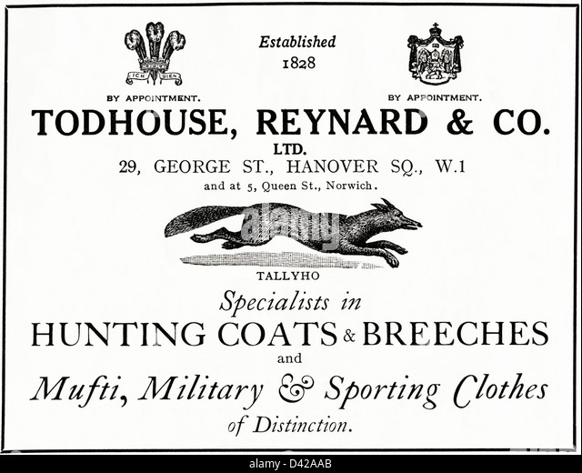 Original 1920s vintage print advertisement from English country gentleman's newspaper advertising hunting coats - Stock Image