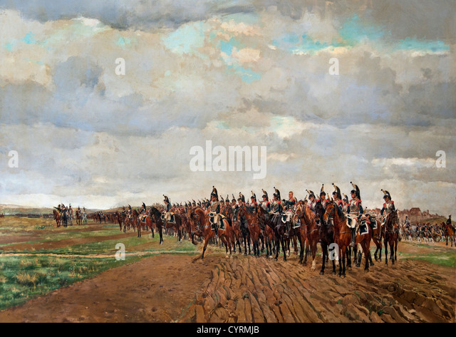 The Cuirassiers before their Charge at the Battle of Austerlitz in 1805 by Meissonier, Jean Louis Ernest 1878 France - Stock Image