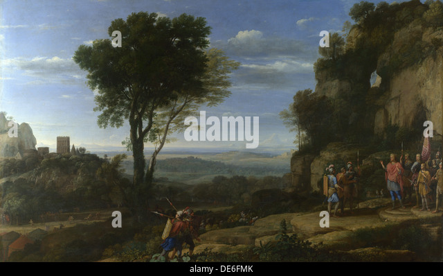 Landscape with David at the Cave of Adullam, 1658. Artist: Lorrain, Claude (1600-1682) - Stock Image