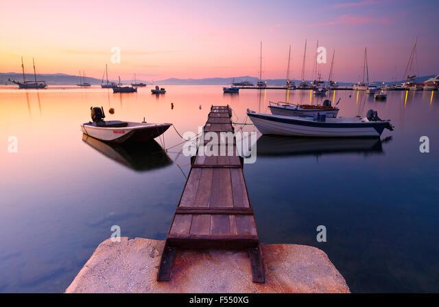 Milos bay of the Milos island as seen from Adamantas harbour - Stock Image