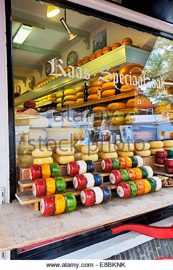 Wijn & Kaaswinkel (wine and cheese corner) Edam attracts visitors from all over the world. - Stock Image