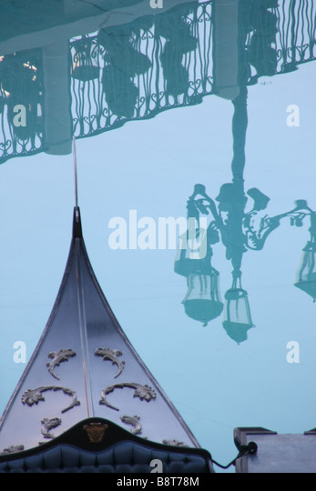 Gondola with reflection of a street light, Venetian Resort Hotel, Las Vegas - Stock Image