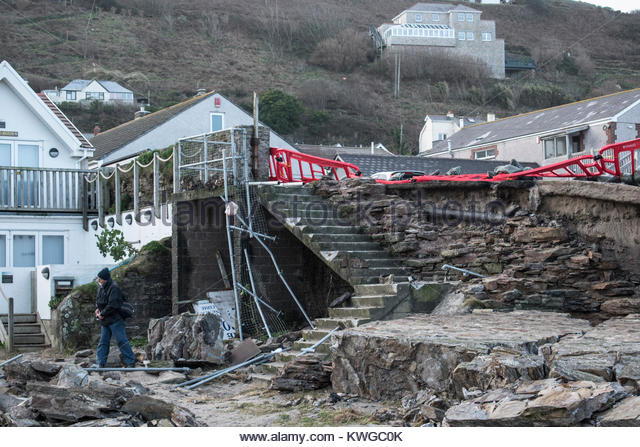 Portreath, Cornwall, UK. 3rd Jan, 2018. UK Weather. Storm force 10 winds and huge waves smashed down a section of - Stock Image