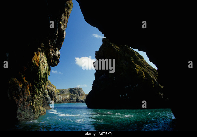 Sea cave Ramsey Island Nature Reserve St Davids David's Pembrokeshire Wales UK Great Britain GB - Stock Image