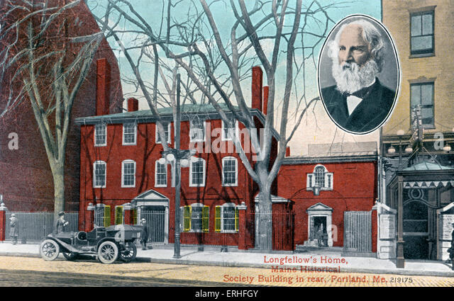 Longfellow's Home, Maine Historical Society Building in rear, Portland, USA. Inset portrait of Henry Wadsworth - Stock Image
