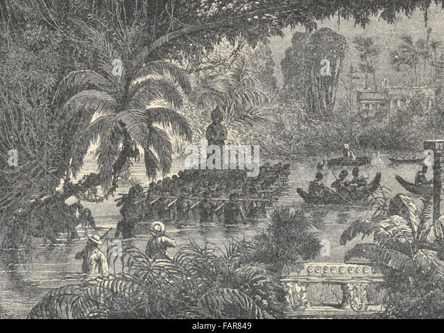Transport across the Marshes of Prea Khan antique sculptures brought to France. Cambodia, circa 1880 - Stock Image