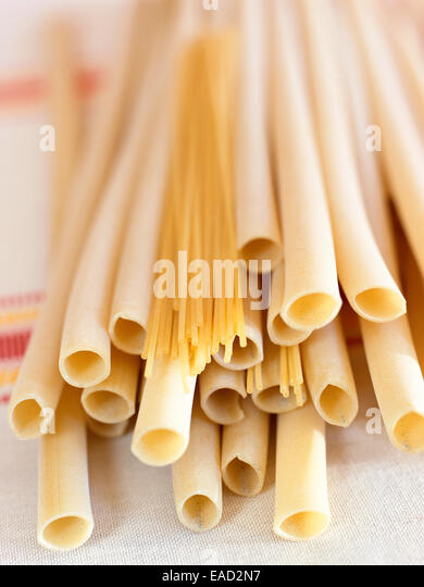 collection of various sized pastas - Stock Image