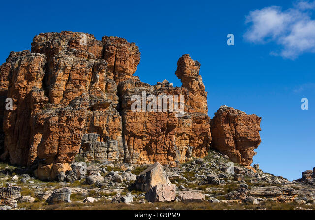 Rock formations in the Algeria area, Cederberg Wilderness, South Africa - Stock Image