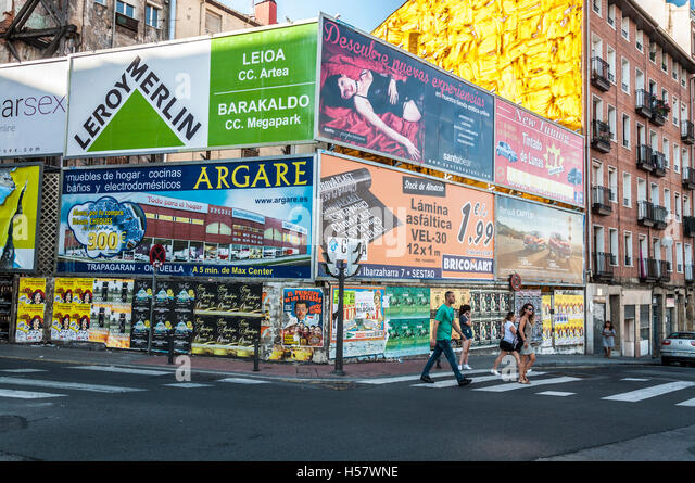 Advertising billboards in Bilbao, Spain - Stock Image