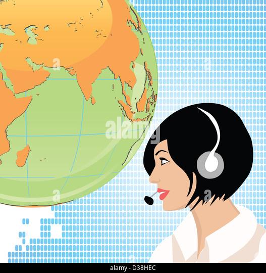 Female customer service representative - Stock Image