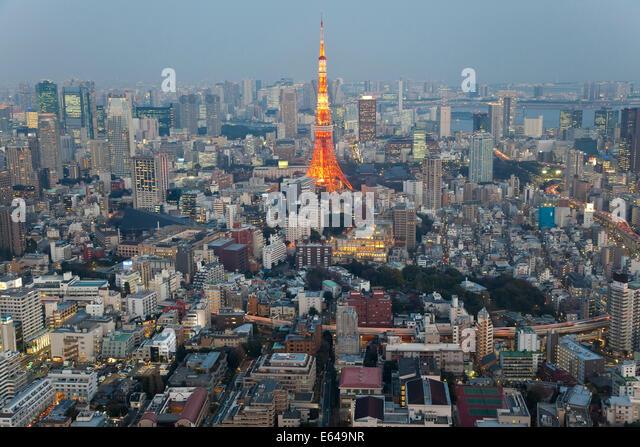 Tokyo skyline and Tokyo Tower, Tokyo, Japan - Stock Image