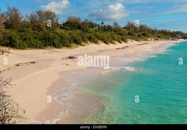 View of Warwick Long Bay Beach, in Warwick Parish, Bermuda - Stock Image