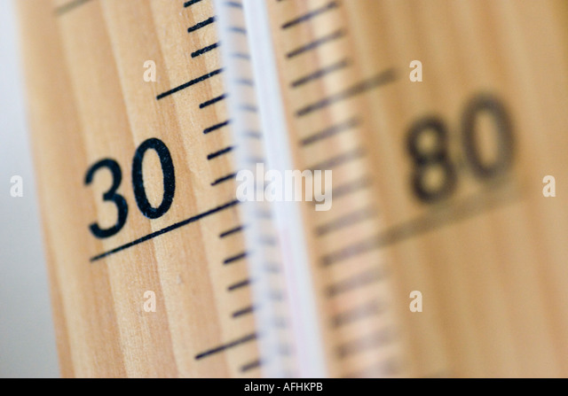 Close up thermometer 80 degrees F - 30 degrees centigrade C - Stock Image
