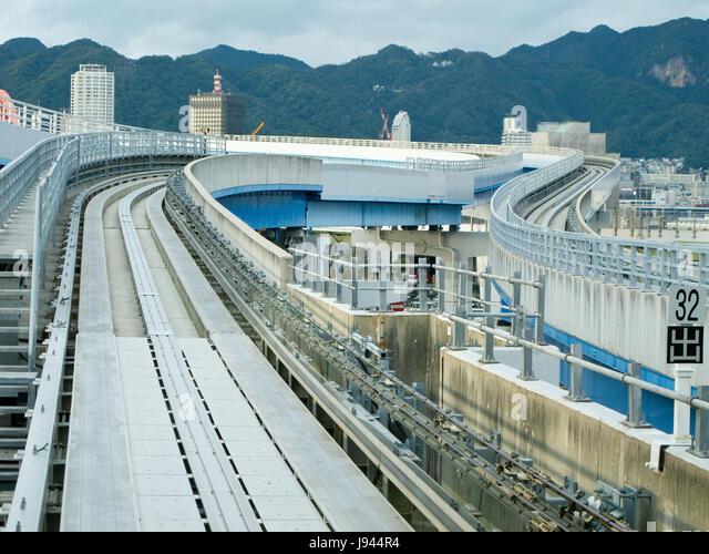 transport, track, japanese, japan, automated, street, road, railway, - Stock Image