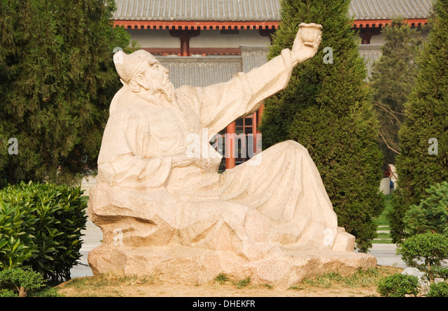 Statue of Wang Wei, the poetic Buddha of Great Tang, Big Goose Pagoda Park, Xian City, Shaanxi Province, China - Stock Image