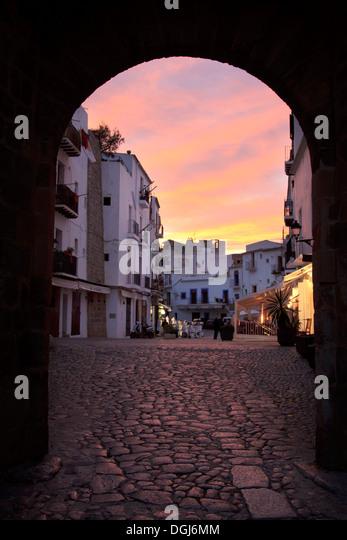 Ibiza town center at sunset,Eivissa Spain - Stock Image