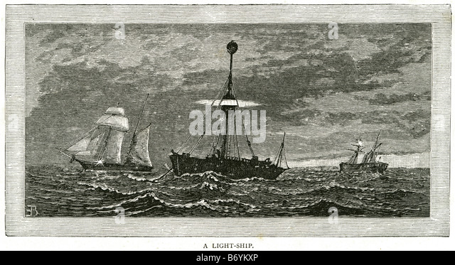 light ship Water trade transport sail coast sailing bay boat rowing ocean sea storm marine - Stock Image