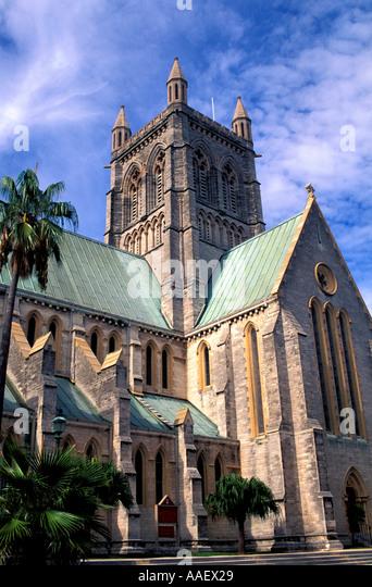 Bermuda Cathedral in Hamilton vertical blue sky - Stock Image
